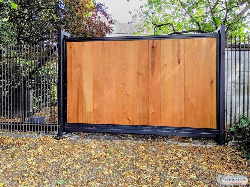 Consepto Hekwerk-Elektrische schuifpoort Red Cedar planken hout Treolje olie